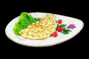 Омлет сырный с ветчиной и помидором