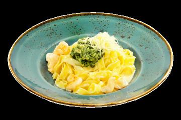 Паста Фетучини с креветками и шпинатом